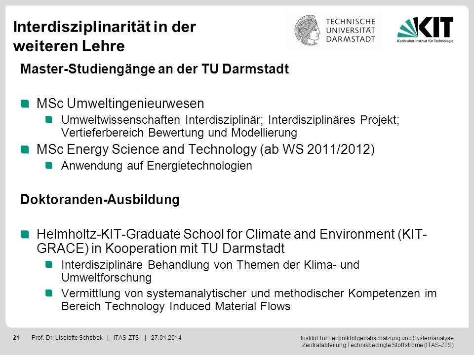 Institut für Technikfolgenabschätzung und Systemanalyse Zentralabteilung Technikbedingte Stoffströme (ITAS-ZTS) 22Prof.