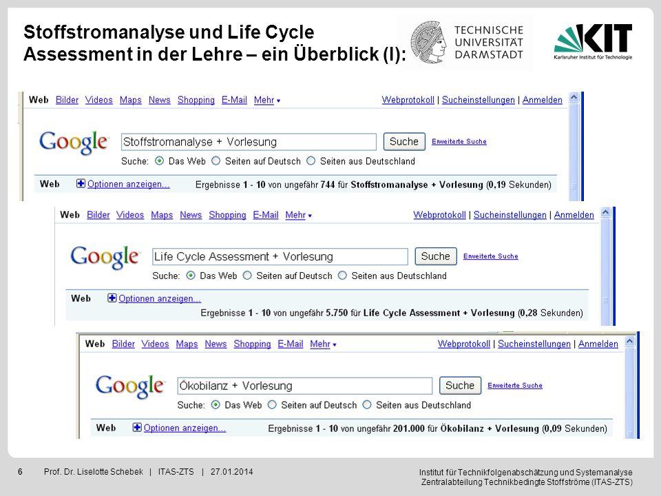 Institut für Technikfolgenabschätzung und Systemanalyse Zentralabteilung Technikbedingte Stoffströme (ITAS-ZTS) 7Prof.