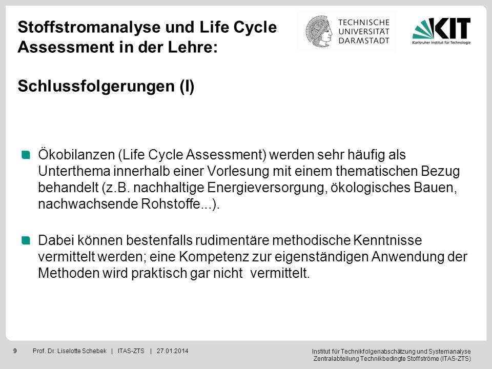 Institut für Technikfolgenabschätzung und Systemanalyse Zentralabteilung Technikbedingte Stoffströme (ITAS-ZTS) 10Prof.