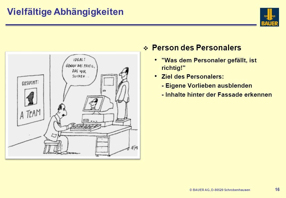 © BAUER AG, D-86529 Schrobenhausen 17 Fazit Jeder bemüht sich, im Rahmen seiner Möglichkeiten das Beste abzuliefern.