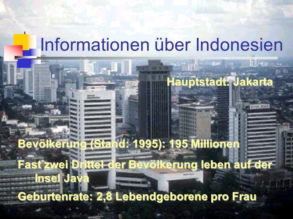 Informationen über Indonesien Fast zwei Drittel der Bevölkerung leben auf der Insel Java Geburtenrate: 2,8 Lebendgeborene pro Frau Hauptstadt: Jakarta Bevölkerung (Stand: 1995): 195 Millionen