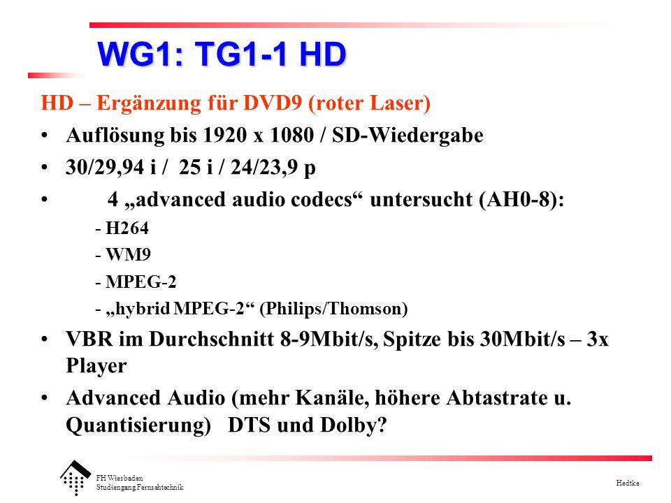 FH Wiesbaden Studiengang Fernsehtechnik Hedtke WG1 AH1-17: HD-Video and stream recording (Framework) Spezifikationen unabhängig vom physikalischen Medium (-R/RW/RAM) Recorder besitzt eingebauten Decoder Ausgangsbasis : vorhandene DVD-Standards: - Video Recording Format VR1.1 (Part 3) - Stream Recording Format SR1.0 (Part 5) - Audio REcording Format AR0,9 (Part 4) - zusätzlich:HD (bis 1920x1080) MPEG-TS (mit mehreren ES) avanced video codecs für bessere Qualität / längere Spielzeit analoge und digitale Eingänge