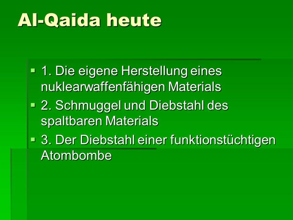 Al-Qaida heute 1.Die eigene Herstellung eines nuklearwaffenfähigen Materials 1.