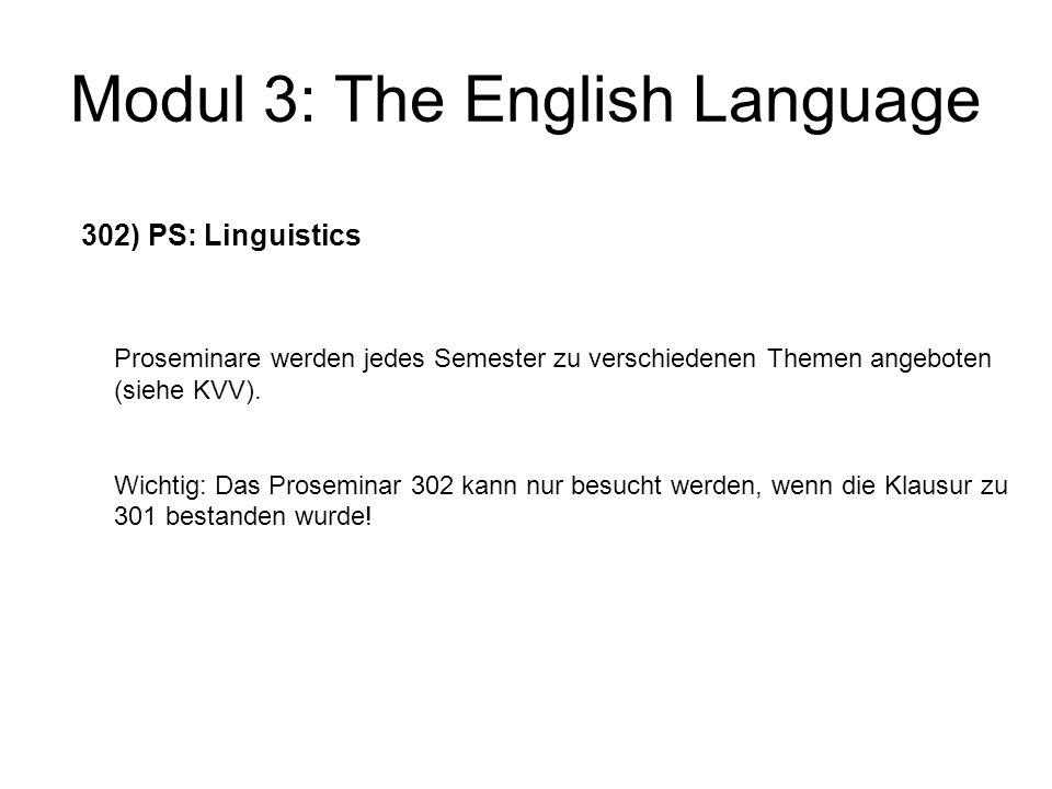 Modul 3: The English Language 303) Introduction to English as a Foreign/Second Language wird jedes Semester angeboten schließt mit einer Klausur ab, die in die Modulnote eingerechnet wird.