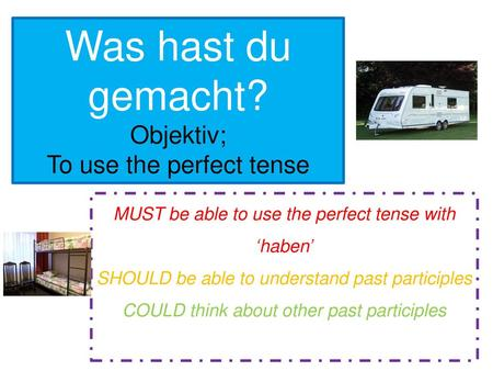 Was hast du gemacht? Objektiv; To use the perfect tense