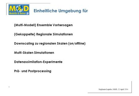 Stephanie Legutke, M&D, 22 April 2004 1 (Multi-Modell) Ensemble Vorhersagen (Gekoppelte) Regionale Simulationen Downscaling zu regionalen Skalen (on/offline)