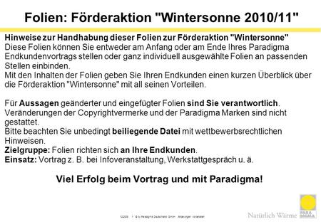 Folien: Förderaktion Wintersonne 2010/11