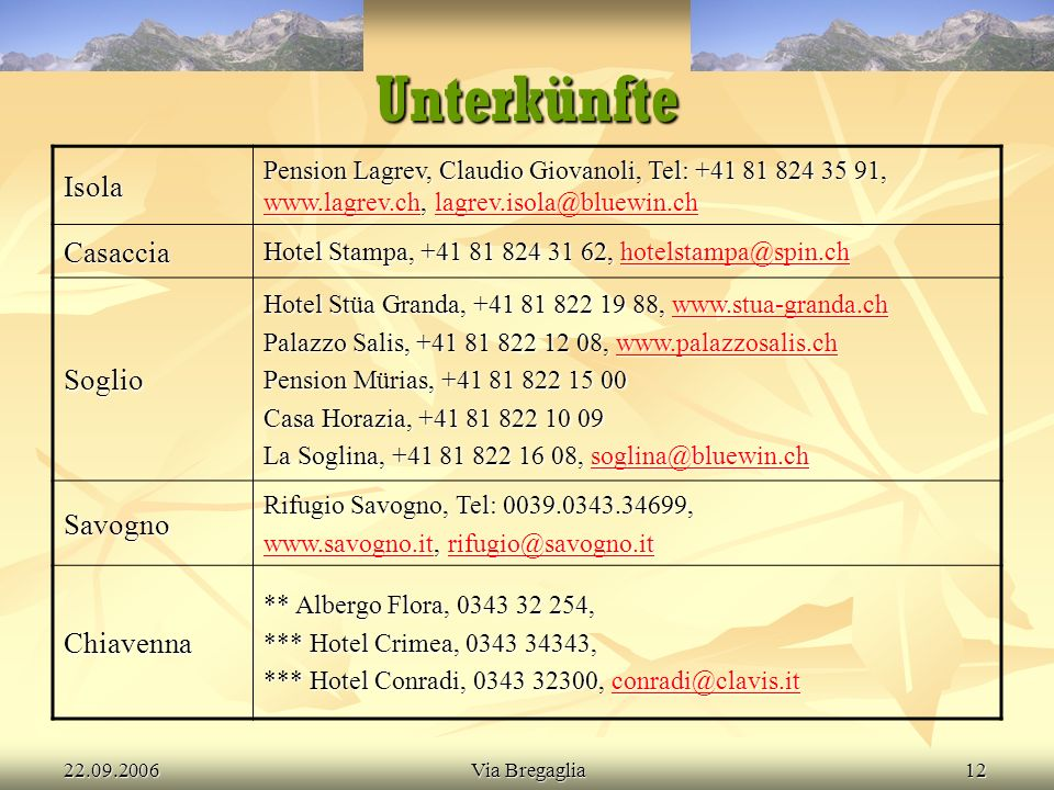 22.09.2006Via Bregaglia13 Menu Leitung Leitung Kalender Kalender Route Route Kosten Kosten Ausrüstung Ausrüstung