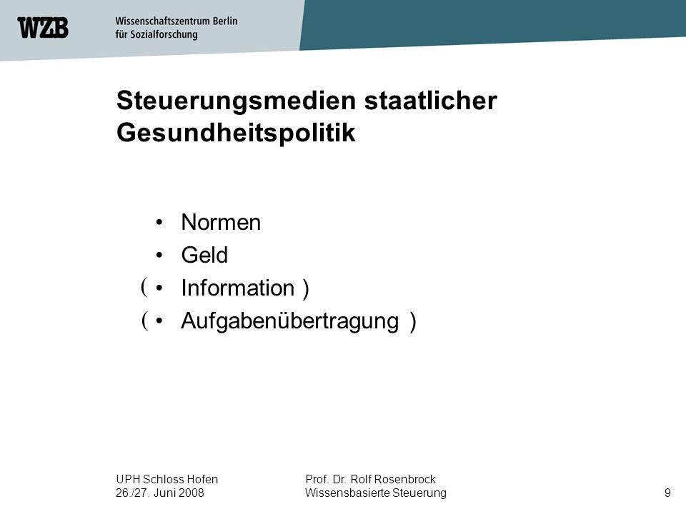 UPH Schloss Hofen 26./27. Juni 2008 Prof. Dr. Rolf Rosenbrock Wissensbasierte Steuerung10