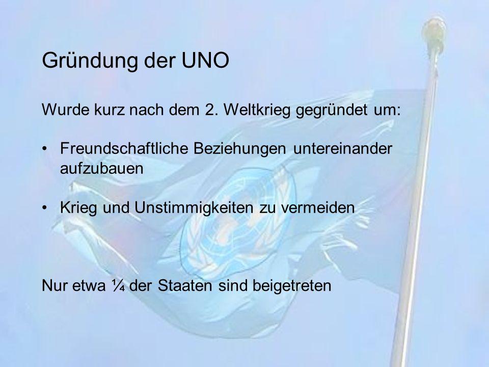 Die UNO-Charta Ein Vertrag der Mitglieder Darin wurden die Ziele und Regeln aufgelistet Wer Mitglied werden will, muss unterschreiben