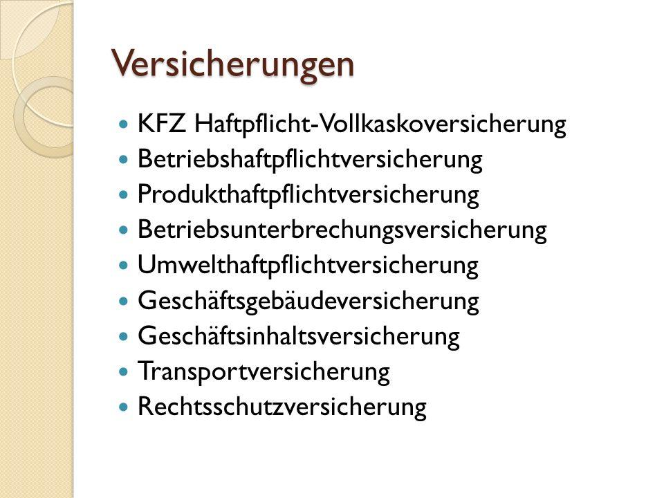 KFZ Haftpflicht-Kaskoversicherung Haftpflichtversicheru ng ◦ Gesetzlich vorgeschrieben ◦ Bonus-Malus System.