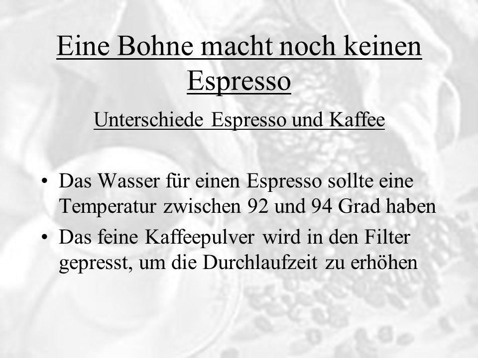 Eine Bohne macht noch keinen Espresso Unterschiede Espresso und Kaffee Der hydraulische Widerstand der Masse aus Kaffeepulver ist ein wenig kleiner als der Druck des Wassers Die Durchlaufgeschwindigkeit beträgt einen Milliliter pro Sekunde, dadurch ergibt sich die empfohlene Durchlaufzeit von 30 Sekunden