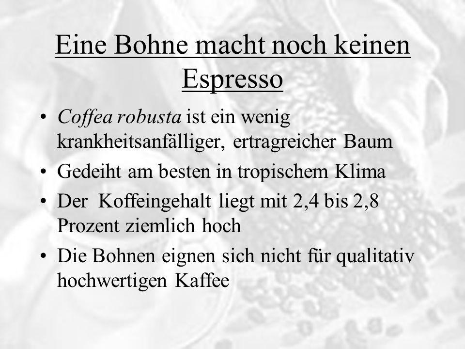 Eine Bohne macht noch keinen Espresso Verfeinerung durch Rösten Die Kaffeebohnen werden üblicherweise zwischen 185 und 240 Grad geröstet Dabei verbinden sich die Zucker mit Aminosäuren, Peptiden und Proteinen Dadurch entstehen Glykosylmin und Melanoidine, die bräunlich, bitter-süssen Substanzen, welche für den typischen Geschmack von Kaffee sorgen