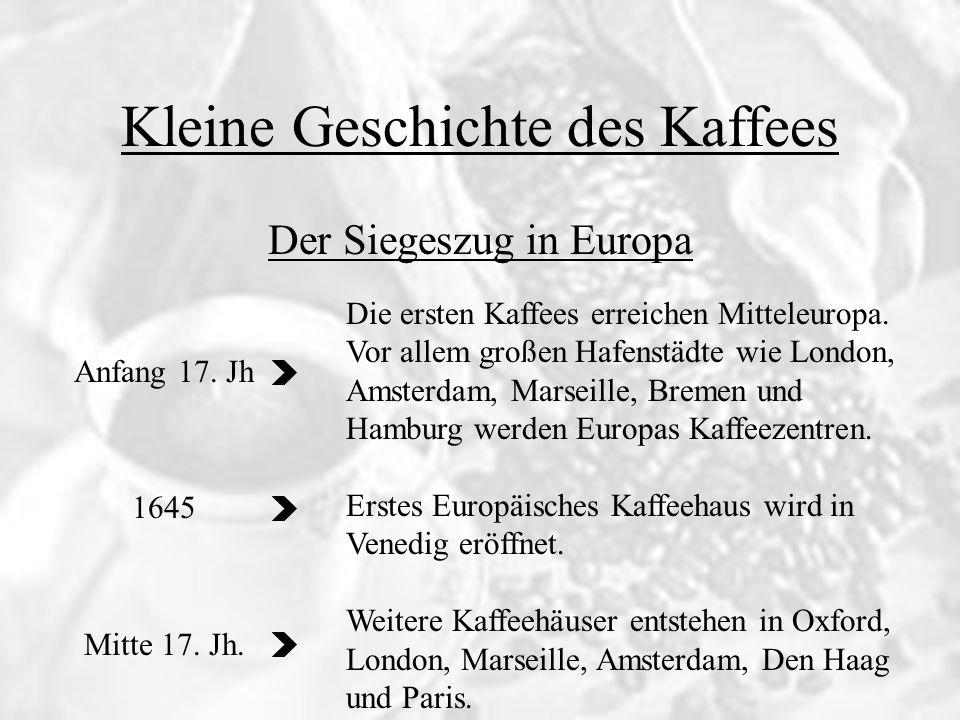Kleine Geschichte des Kaffees 1673 1677 1683 Der Siegeszug in Europa Deutschlands erstes Kaffeehaus wird in Bremen eröffnet.