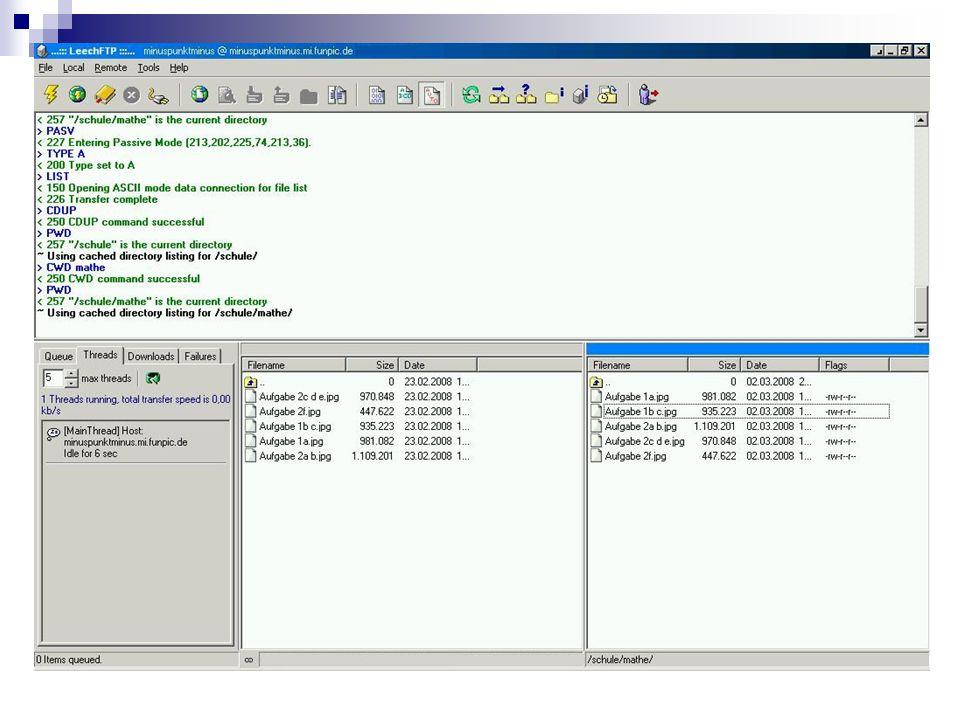 2.FTP Ablauf einer FTP-Verbindung Bei Übertragung von Dateien besonders wichtig: Ankommen ohne Verlust auf Empfängerseite Für Fehlerkontrolle bei der Datenübertragung ist TCP-Protokoll zuständig Falls doch Verbindungsabbruch, Wiederaufnahme von unterbrochenen Übertragungen Header der einzelnen Datenpakete enthalten Restart- Markierungen Beim Versuch die Übertragung wieder aufzunehmen, gleichen Client und Server die Markierungen ab Anschließend wird die Übertragung wieder aufgenommen