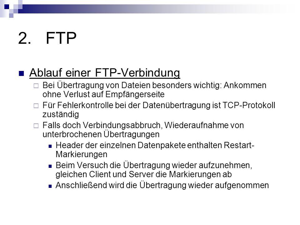 2.FTP Sicherheit nur einfache Benutzer-Authentifizierung Unverschlüsselte Übermittlung von Kennung und Passwort zwischen Client und Server ansonsten keinerlei Sicherheitsfunktionen