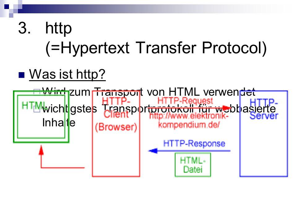 3.http Ablauf einer http-Verbindung Kommunikation zwischen Client und Webserver erfolgt durch Austausch von http-Nachrichten TCP-Verbindung Nachrichten, auch Request und Response genannt, bestehen im Wesentlichen aus zwei Teilen: Header und Daten Der Header enthält Steuerinformationen, z.B.