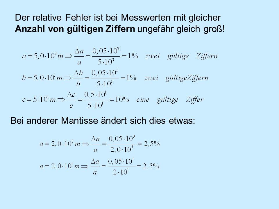 Entscheidend ist aber die Zahl der gültigen Ziffern: Man erhält für eine feste Anzahl von gültigen Ziffern für den relativen Fehler eine Funktion, die sich in Abständen von … 0,01- 0,1 | 0,1-1 | 1- 10 | 10-100 | ….
