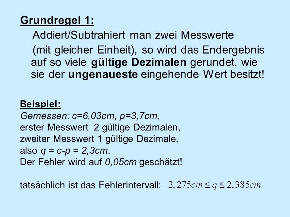 Beispiel 2: s=3m, t=1,21s, ergibt v= s/t =2m/s, Fehler geschätzt 0,5m/s, tatsächlich Messwertangaben erfordern Disziplin vom Aufgabensteller.