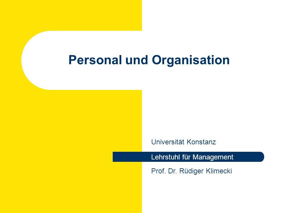 Rüdiger Klimecki: Personal und Organisation WS 2007/2008 Termine Vorlesung Dienstag, 12:15 -13:45 in R 711 Klausur Montag, 18.