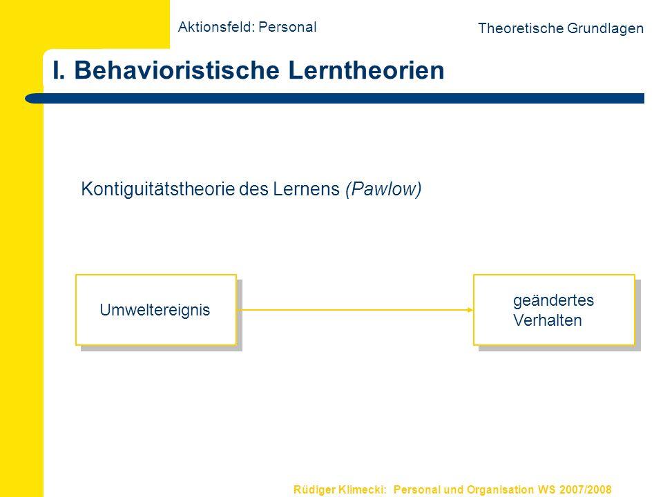 Rüdiger Klimecki: Personal und Organisation WS 2007/2008 I.