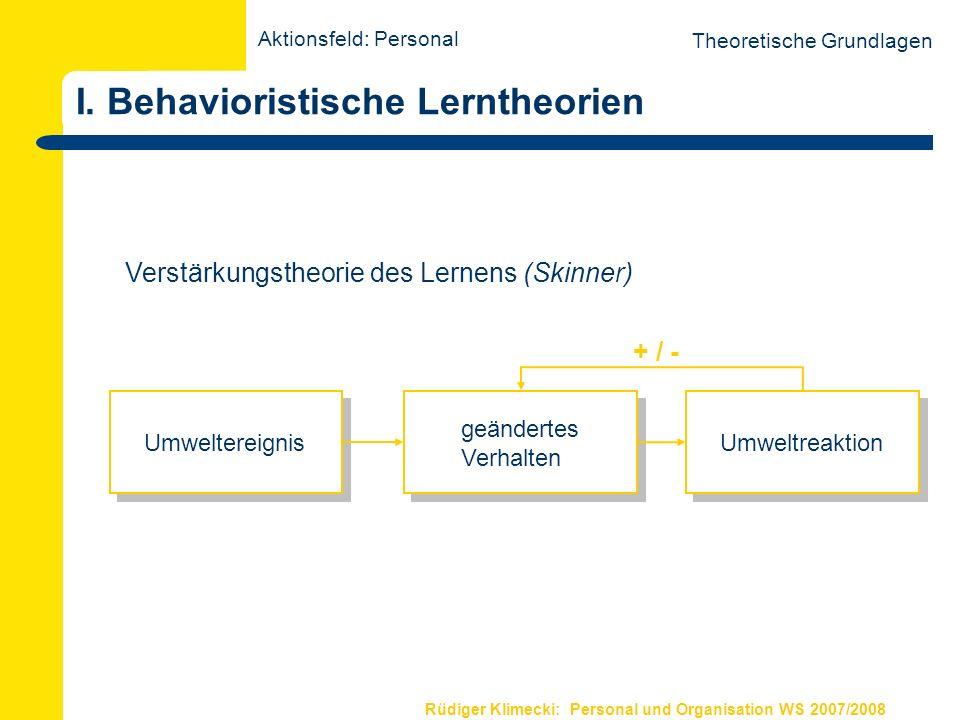 Rüdiger Klimecki: Personal und Organisation WS 2007/2008 Lerntheorien Theoretische Grundlagen I.Behavioristische Lerntheorien II.