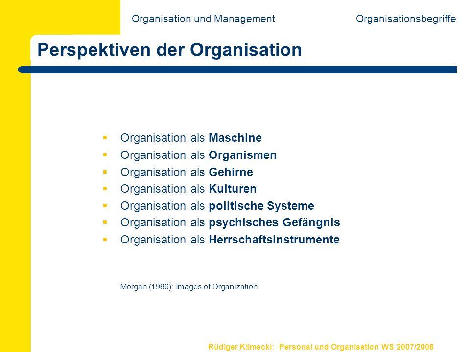 Rüdiger Klimecki: Personal und Organisation WS 2007/2008 Institutioneller Organisationsbegriff Der Blickwinkel ist das gesamte institutionelle System: Ein Soziales System ist eine Organisation.