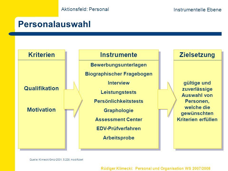 Rüdiger Klimecki: Personal und Organisation WS 2007/2008 Personalbeurteilung Instrumentelle Ebene Person Verhalten Leistung z.B.