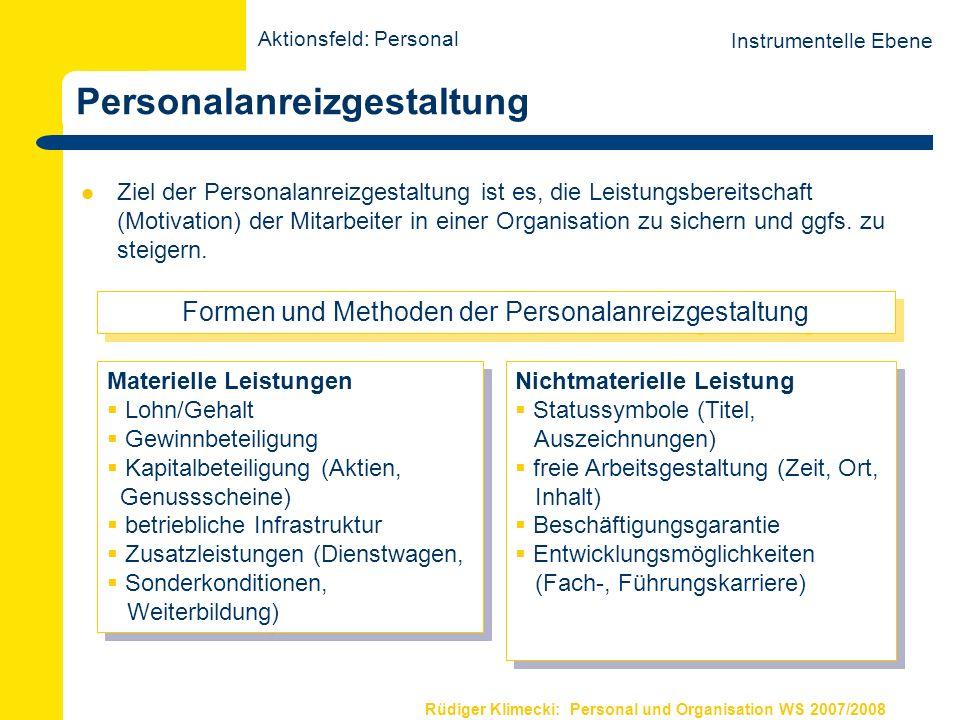 Rüdiger Klimecki: Personal und Organisation WS 2007/2008 Personalentwicklung Ziel der Personalentwicklung ist es, die Leistungsfähigkeit (Qualifikation) der Mitarbeiter in einer Organisation zu sichern und ggfs.