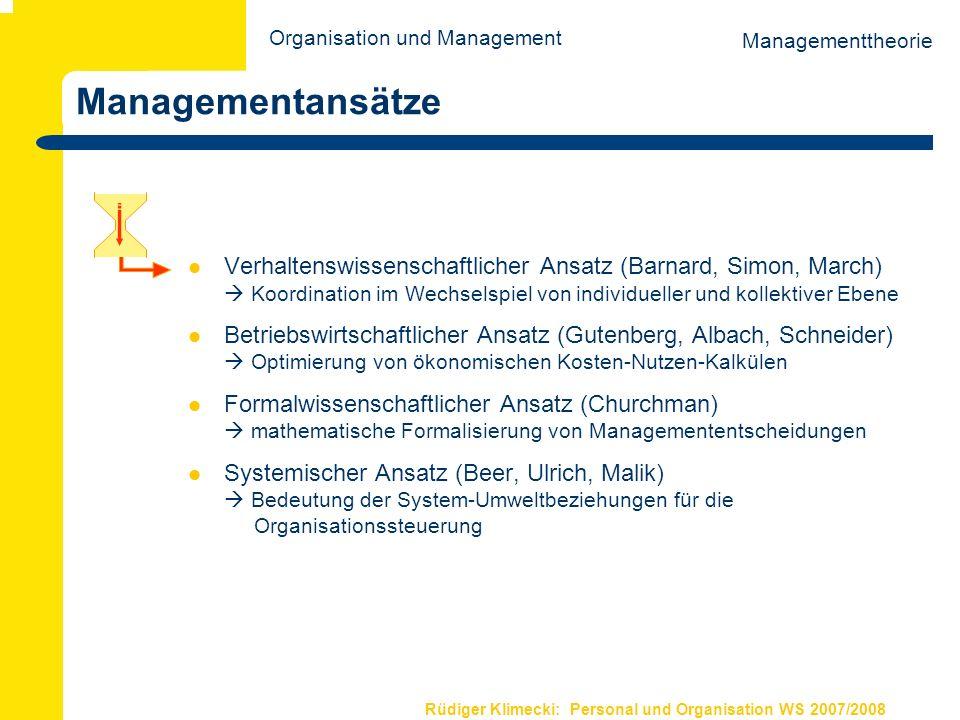 Rüdiger Klimecki: Personal und Organisation WS 2007/2008 Weiterführende Literatur Coleman, J.