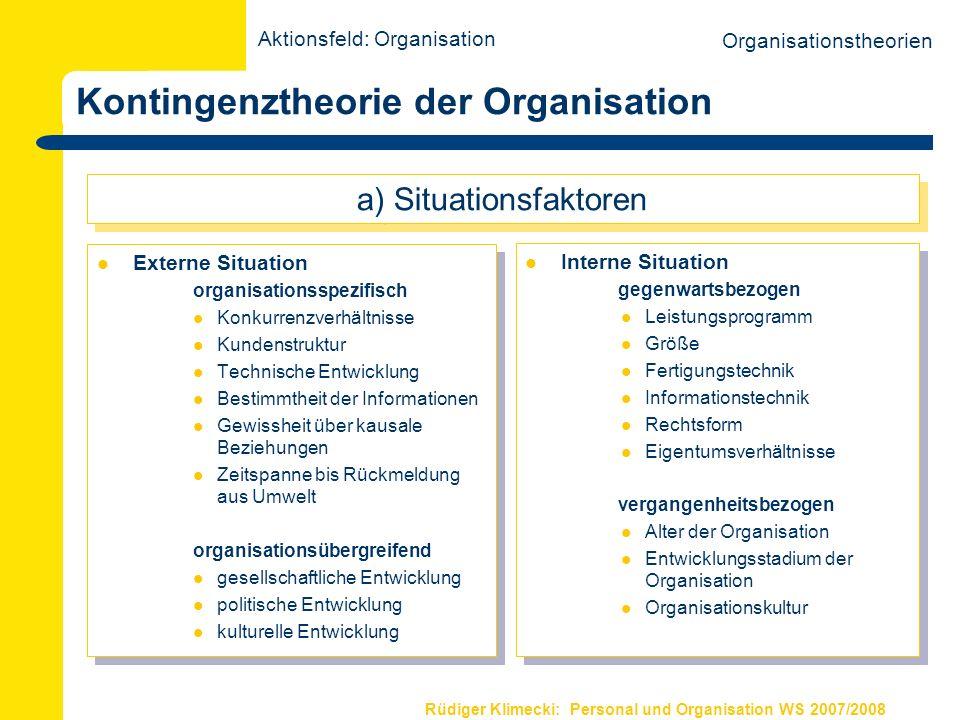 Rüdiger Klimecki: Personal und Organisation WS 2007/2008 Kontingenztheorie der Organisation Formale Organisationsstruktur Durchschnittliche Kontrollspanne Anzahl der Hierarchieebenen Zeitspanne zw.