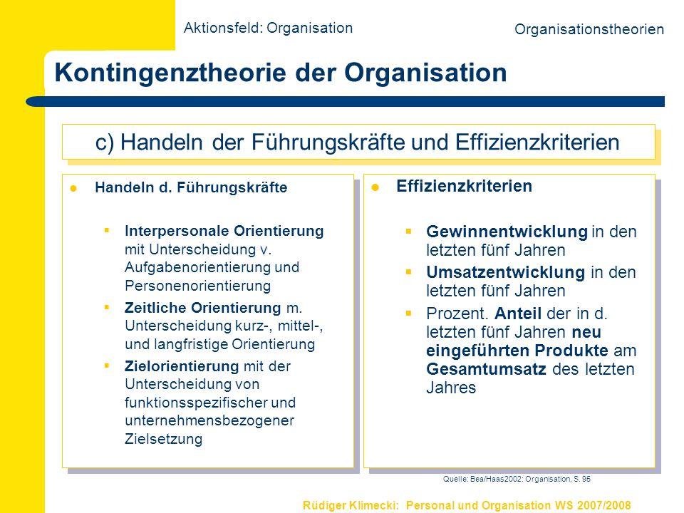 Rüdiger Klimecki: Personal und Organisation WS 2007/2008 Evolutionstheorie der Organisation Die Entstehung und Entwicklung von Organisationsstrukturen folgt einem evolutionären Prinzip und hängt von der Variation, Selektion und Retention bestimmter Konfigurationen ab.