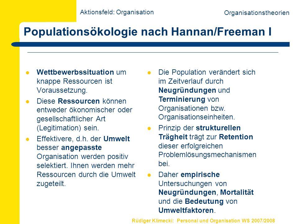 Rüdiger Klimecki: Personal und Organisation WS 2007/2008 Populationsökologie nach McKelvey/Aldrich I Populationen definieren sich durch zentrale und spezifische Kompetenzen (comps).