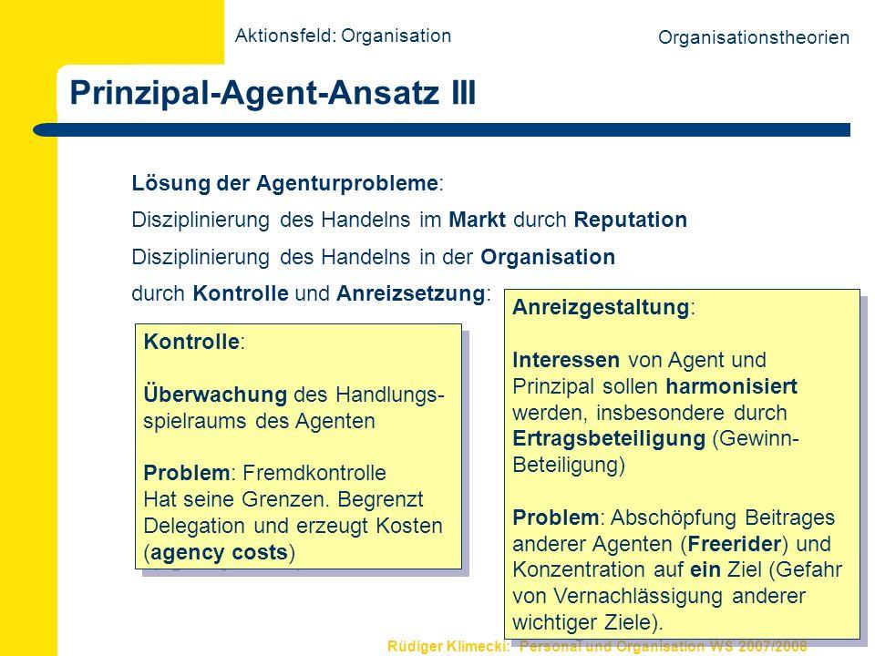 Rüdiger Klimecki: Personal und Organisation WS 2007/2008 Weiterführende Literatur Scherer, A.