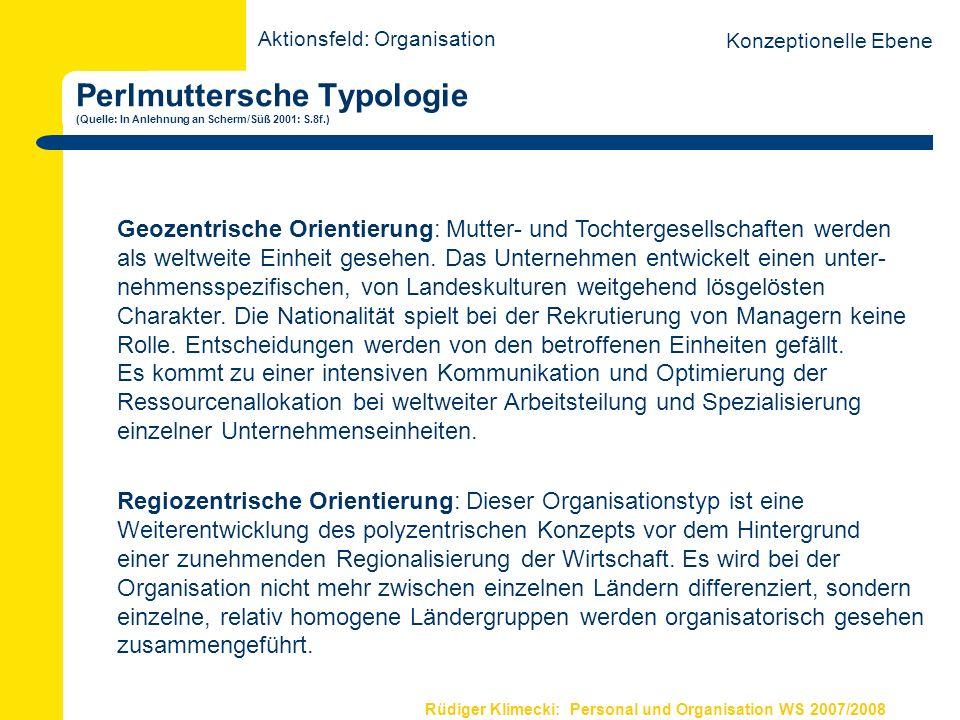 Rüdiger Klimecki: Personal und Organisation WS 2007/2008 Typologie international tätiger Unternehmen nach Bartlett/Ghoshal (Quelle: Kutschker/Schmid 2002:284) Aktionsfeld: Organisation Konzeptionelle Ebene