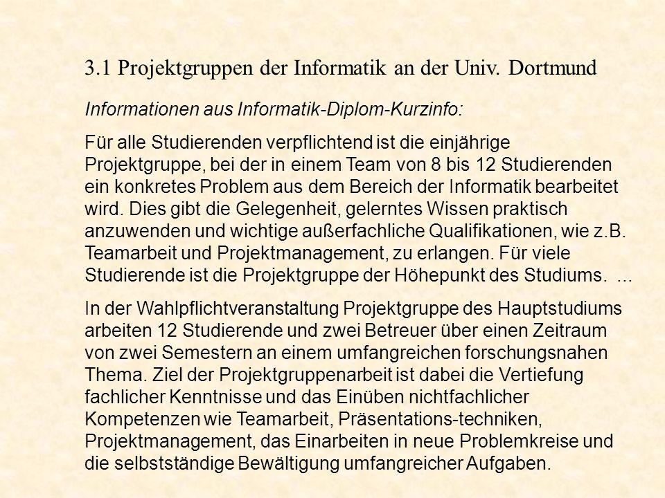 - Beteiligung an (Teil-) Projekten - Vermittlung von Schlüsselqualifikationen - verwaltungsmäßige Abwicklung der Projekte unterstützen An der Universität Dortmund gibt es im HDZ ein Sudienprojektzentrum.