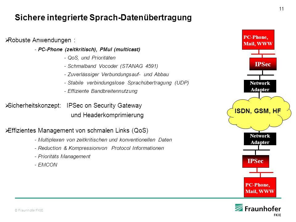 © Fraunhofer FKIE 12 Nachweis: VoIPv6 mit zusätzlichen Daten mit CRC (CA) Später : Verifikation von Thales für SEM- VHF Geräte Heute : IPv6 integraler Bestandteil nationaler SDR-Programme (z.B.