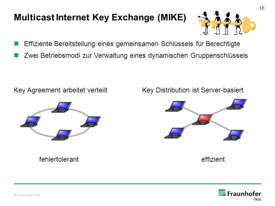 © Fraunhofer FKIE 17 IPsec Discovery Protocol (IDP) Automatisierung der sicheren Vernetzung erfordert Lokalisierung von IPsec-fähigen Komponenten Software TIBER realisiert IPsec Discovery Protocol Automatische Lokalisierung verfügbarer IPsec-Komponenten Signalisierung von JOIN, LEAVE an das Schlüsselmanagement MIKE