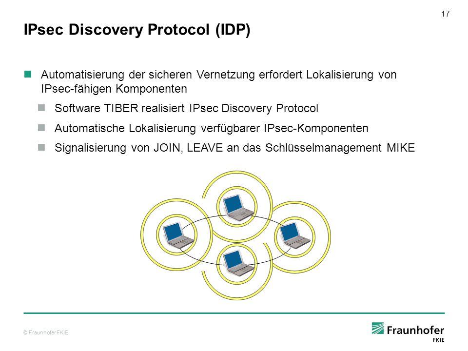 © Fraunhofer FKIE 18 Public Key Infrastructure (PKI) Zentrales Vertrauensmodell Autorisierung zur Teilnahme mittels Zertifikat Authentisierung beim Gruppenbeitritt Ausschluss eines Nutzers (EJECT) Verteilung einer Widerrufliste Schlüsselwechsel durch das IDP-MIKE-System