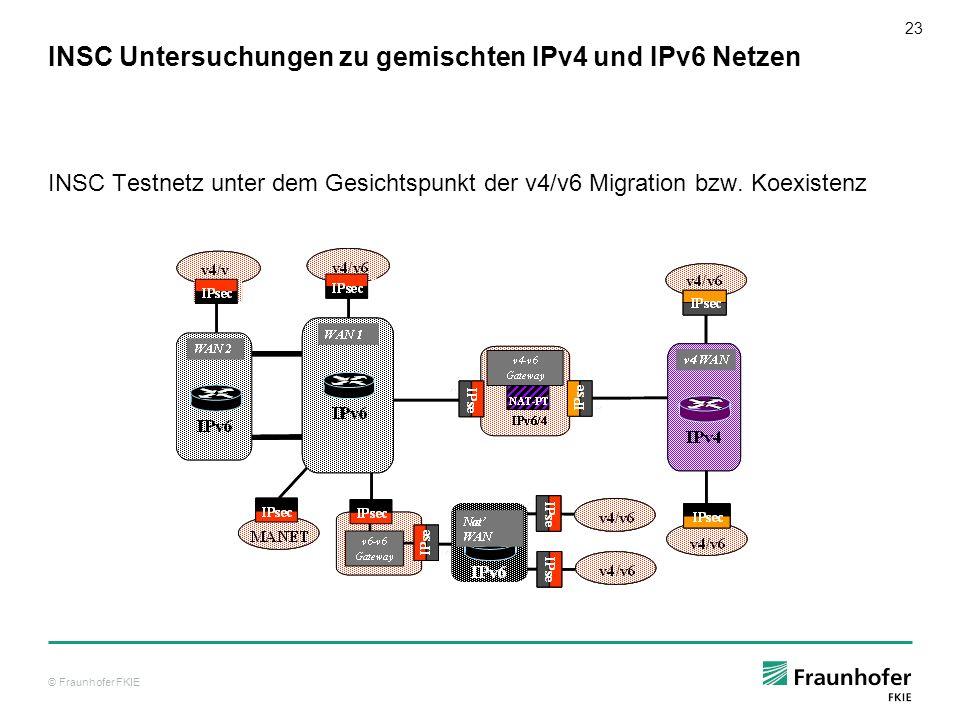 © Fraunhofer FKIE 24 Empfehlungen aus INSC zu den Migrationsansätzen Basis: Im Rahmen von INSC wurde zum einen in einer theoretischen Analyse die Eignung der jeweiligen Methoden in den verschiedenen, relevanten Szenaren und Architekturen untersucht.