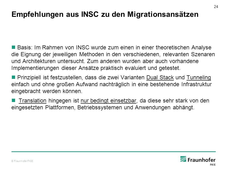 © Fraunhofer FKIE 25 IPv6 – Migration der Bundeswehr seit 1996 Untersuchungen am FKIE im Hinblick auf IPv6 Nutzung 2003: Erlass BMVg legt für die zukünftige Ausrichtung der Kommunikationssyteme den Einsatz des Internet-Protokolls (IP) in der Version 6 (IPv6) fest.