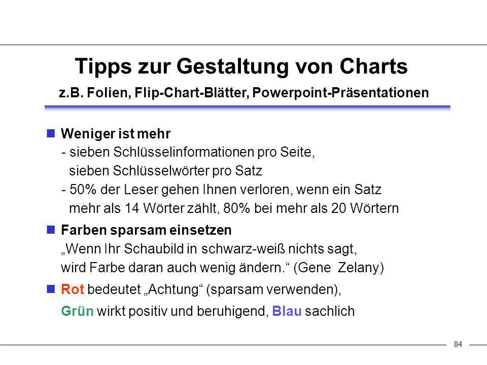 85 Verwirrung / Langeweile Anzahl Schaubilder Tipps zur Gestaltung von Charts z.B.