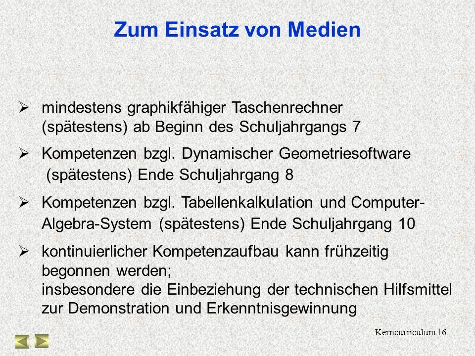 Kerncurriculum 16 Zum Einsatz von Medien mindestens graphikfähiger Taschenrechner (spätestens) ab Beginn des Schuljahrgangs 7 Kompetenzen bzgl.