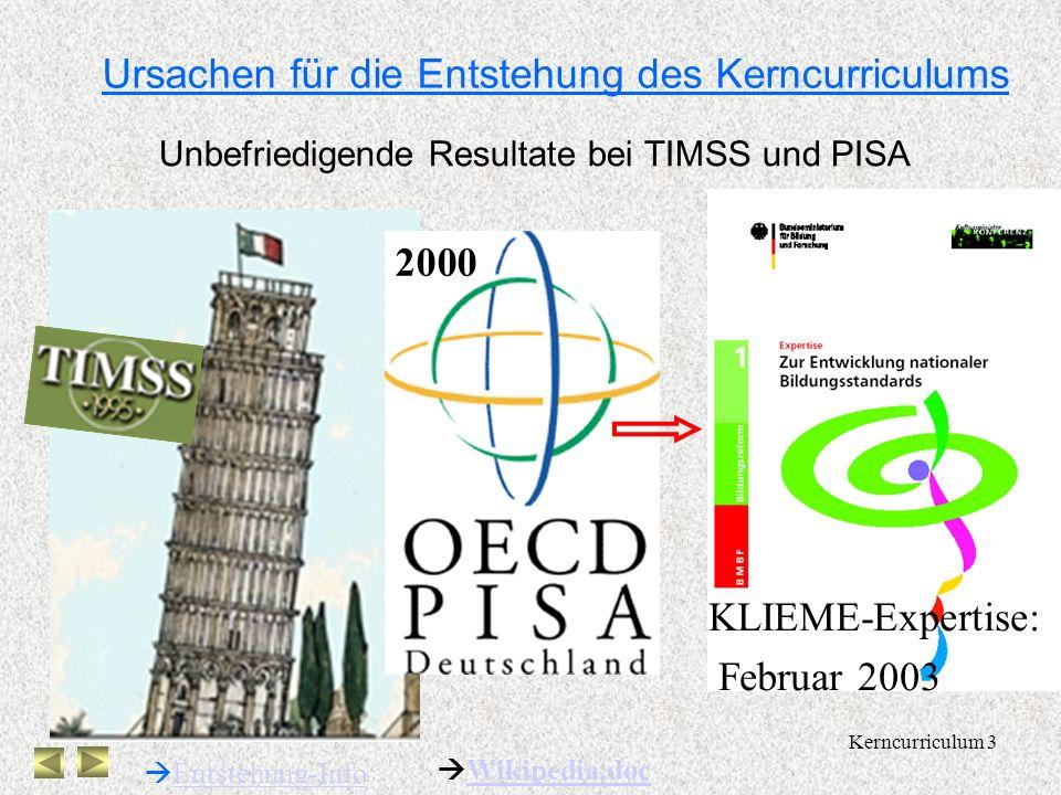 Kerncurriculum 3 Ursachen für die Entstehung des Kerncurriculums Unbefriedigende Resultate bei TIMSS und PISA Entstehung-Info 2000 KLIEME-Expertise: Februar 2003 Wikipedia,doc