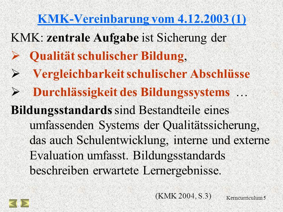 Kerncurriculum 5 KMK-Vereinbarung vom 4.12.2003 (1) KMK: zentrale Aufgabe ist Sicherung der Qualität schulischer Bildung, Vergleichbarkeit schulischer Abschlüsse Durchlässigkeit des Bildungssystems … Bildungsstandards sind Bestandteile eines umfassenden Systems der Qualitätssicherung, das auch Schulentwicklung, interne und externe Evaluation umfasst.