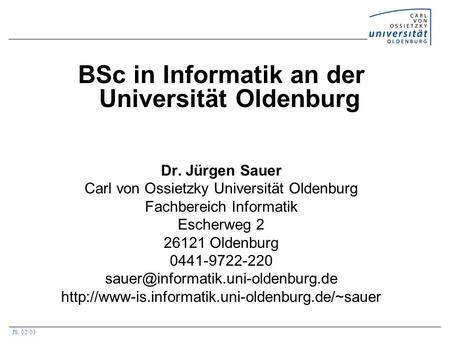 BSc in Informatik an der Universität Oldenburg