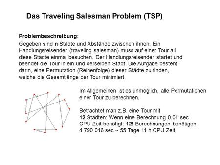 Das Traveling Salesman Problem (TSP)