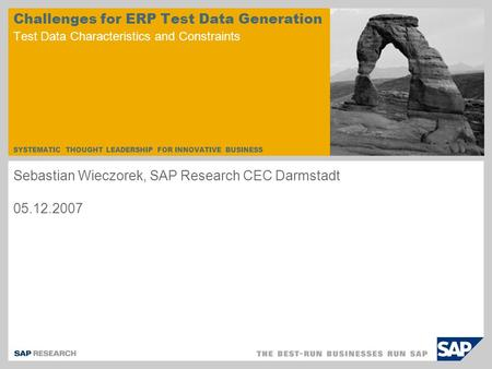 SYSTEMATIC THOUGHT LEADERSHIP FOR INNOVATIVE BUSINESS Challenges for ERP Test Data Generation Test Data Characteristics and Constraints Sebastian Wieczorek,
