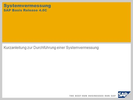 Systemvermessung SAP Basis Release 4.6C