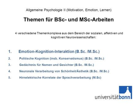 Emotion-Kognition-Interaktion (B.Sc. /M.Sc.)